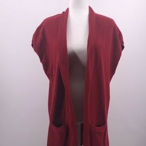 Chicos Sz 3 L 16 Red Open Front Long Tunic Top